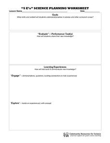"""5 E's"" Science Planning Worksheet Printables & Template"