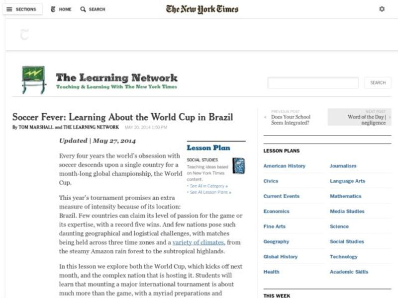 Soccer Fever: Learning About the World Cup in Brazil Lesson Plan