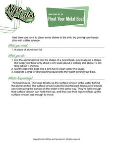 Float Your Metal Boat Activities & Project