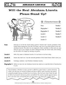 Will the Real Abraham Lincoln Please Stand Up? Activities & Project