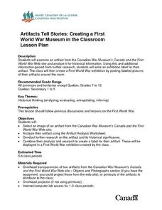Artifacts Tell Stories: Creating a First World War Museum in the Classroom Lesson Plan