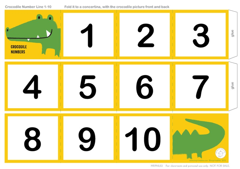 graphic about Printable Numbers 1-10 named Crocodile Selection Line 1- 10 Printables Template for Pre-K