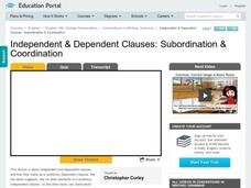 Independent & Dependent Clauses: Subordination & Coordination Video