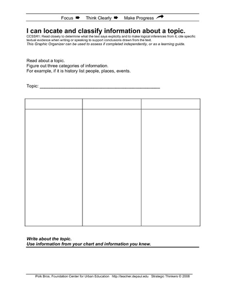 I Can Locate and Classify Information About a Topic Printables & Template