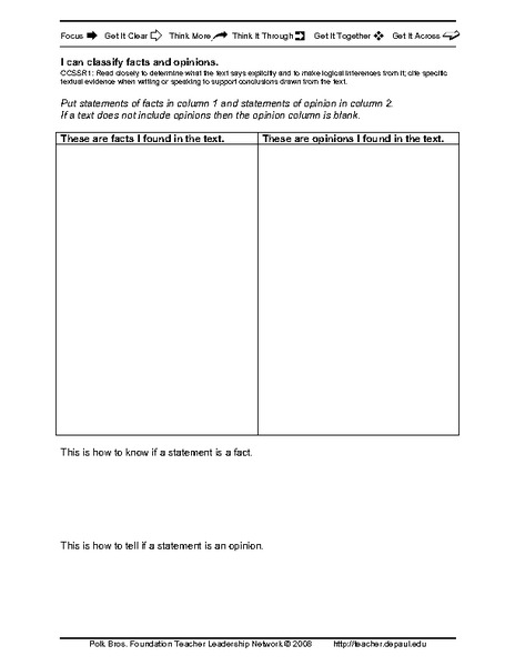 I Can Classify Facts and Opinions Printables & Template