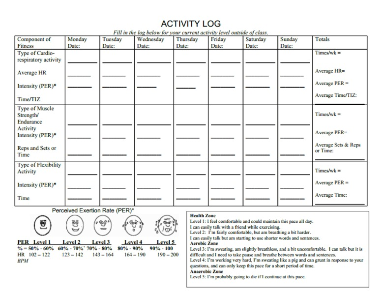 Activity Log Printables & Template