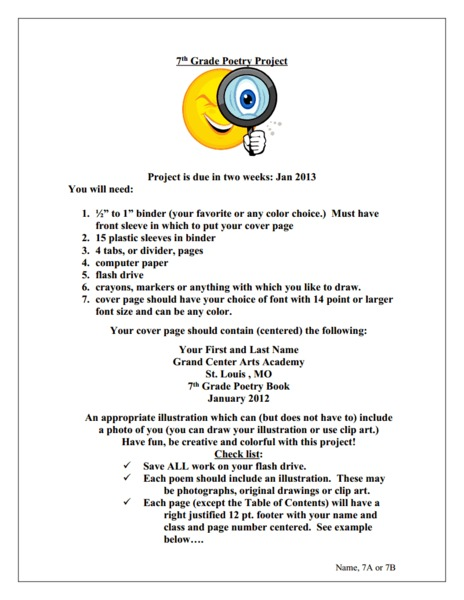 7th Grade Poetry Project Activities & Project
