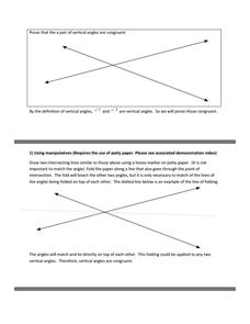 Vertical Angles Proof Samples Activities & Project