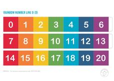 Rainbow Color Number Line 0 -20 Printables & Template
