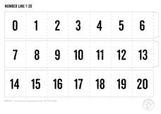 Black & White Basic Number Line 0 -20 Printables & Template
