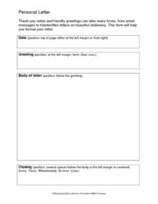 Personal Letter Writing Template Printables & Template