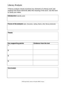 Literary Analysis Printables & Template