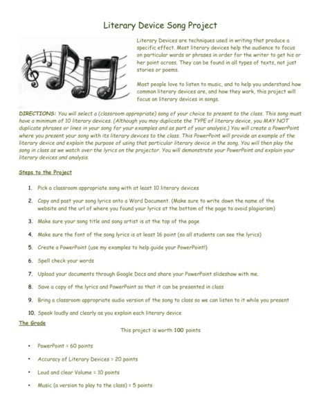 Literary Device Song Project Activities & Project