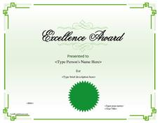 Excellence Award Printables & Template