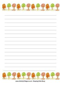 Autumn Trees Writing Paper Printables & Template