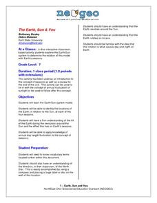 Earth, Sun and You Lesson Plan