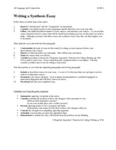 Writing a Synthesis Essay Activities & Project