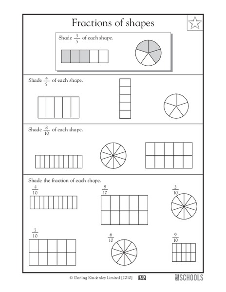 Fractions of Shapes Worksheet for 3rd - 4th Grade | Lesson ...