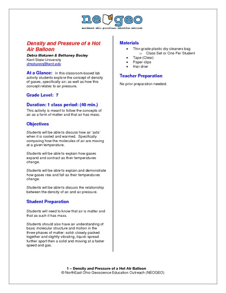 Density and Pressure of a Hot Air Balloon Lesson Plan
