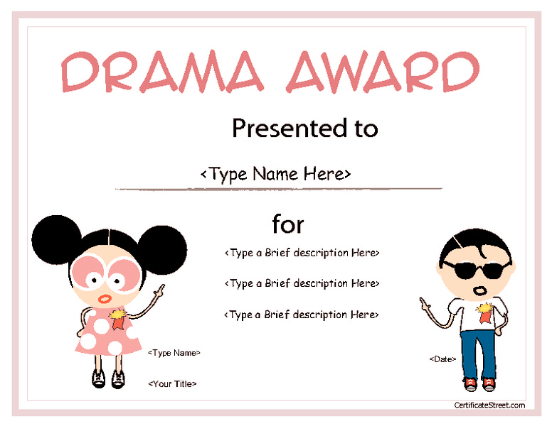Drama Award for Children Printables & Template