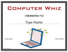 Computer Whiz Certificate Printables & Template