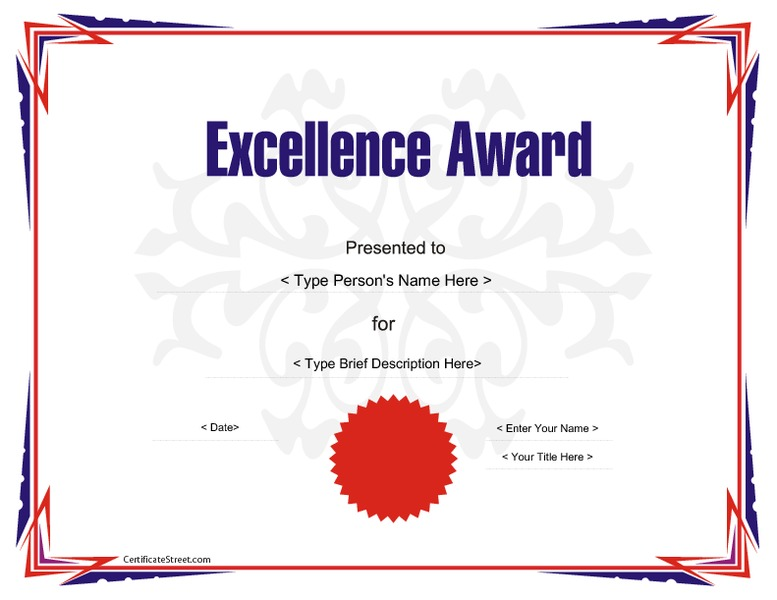Award Certificate Template for Excellence Printables ...