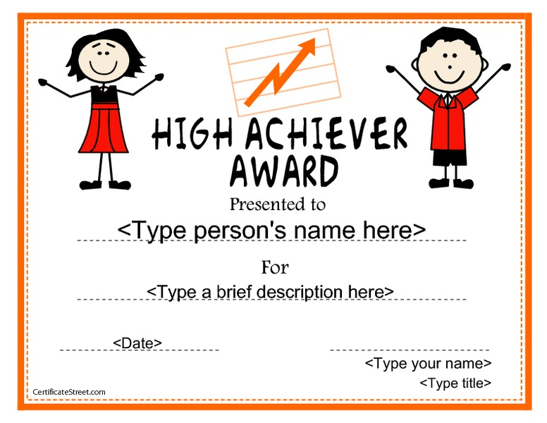 High Achiever Award Printables & Template