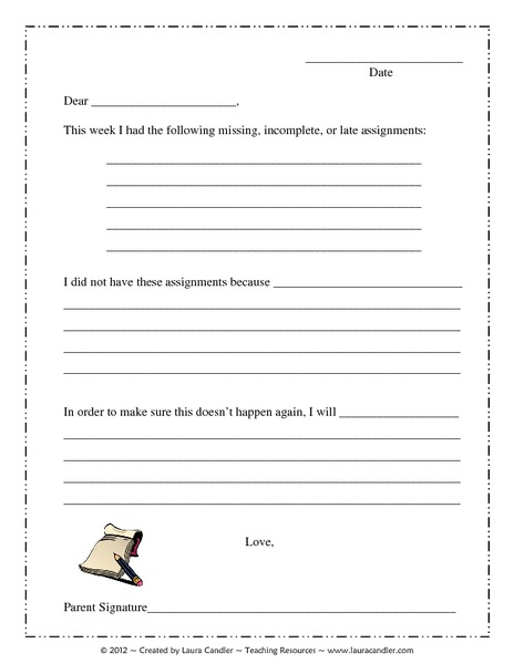 Missing Homework Letter Printables & Template
