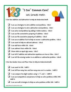 """I Can"" Common Core! 1st Grade Math Printables & Template"