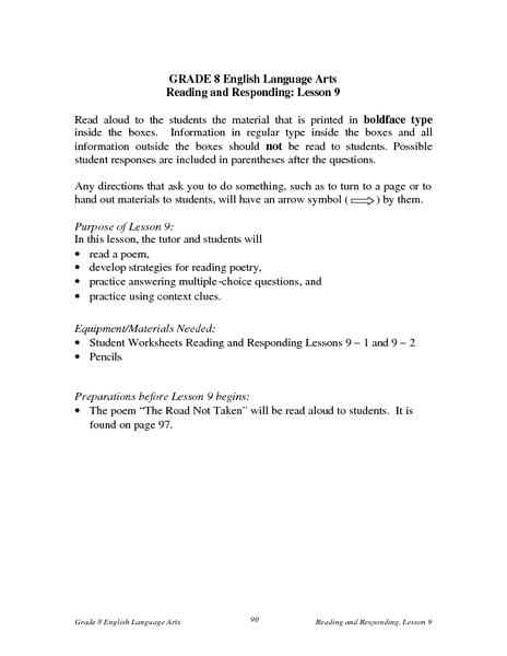 Reading and Responding: Lesson 9 Lesson Plan