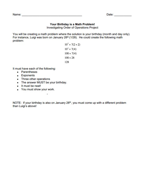 Your Birthday is a Math Problem! Worksheet