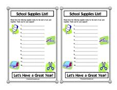School Supplies Notice Printables & Template