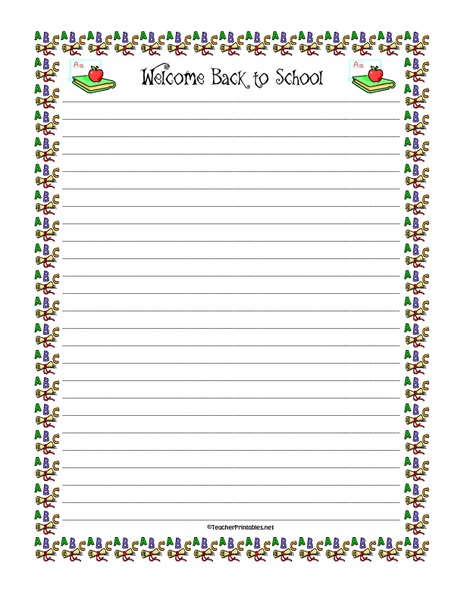 Back to School Writing Paper Printables & Template