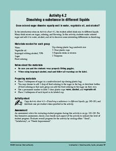 Dissolving a Substance in Different Liquids Lesson Plan