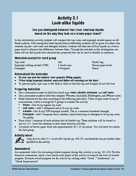 Look-Alike Liquids Lesson Plan