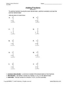 Fractions Worksheet Worksheet
