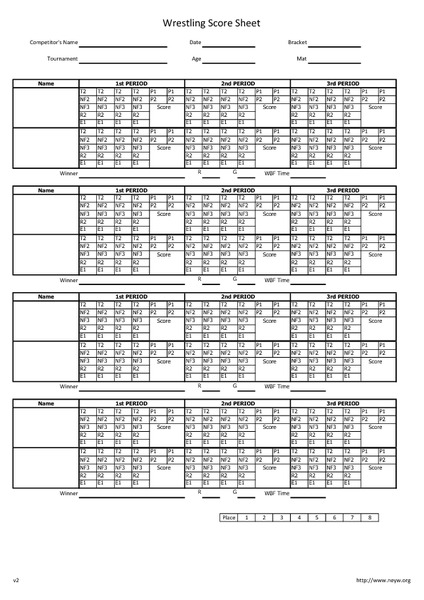 Wrestling Score Sheets 6th 12th Grade Printables Template – Wrestling Score Sheet
