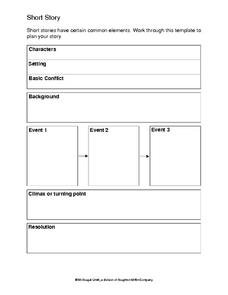 Short Story Writing Template Graphic Organizer for 6th - 8th