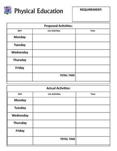 Physical Education Requirements Planner Printables & Template
