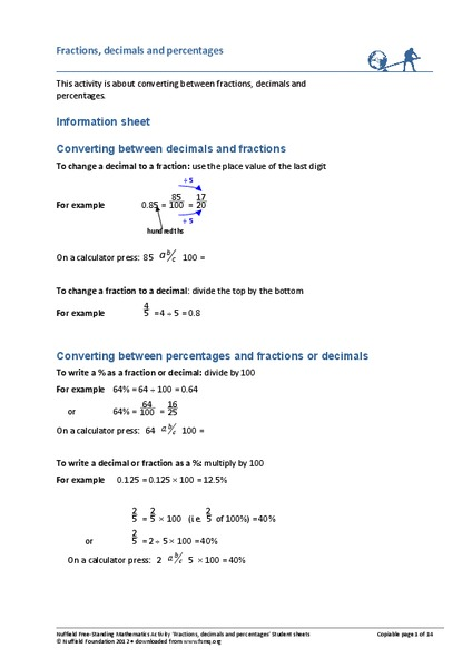 Fractions, Decimals and Percentages Handouts & Reference