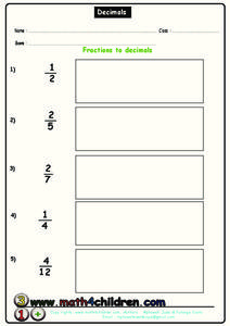 Fractions to Decimals Worksheet