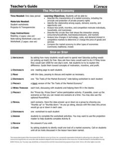 The Market Economy Lesson Plan for 6th - 12th Grade ...