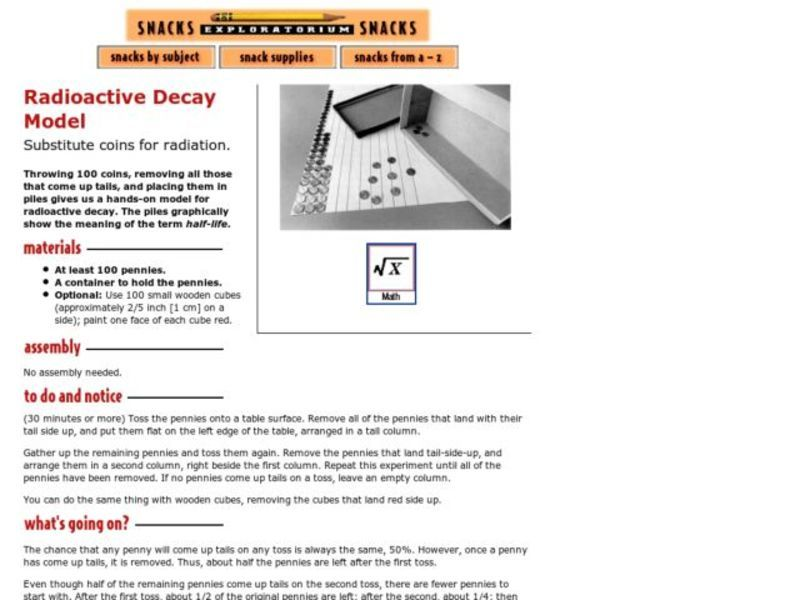 Radioactive Decay Model Activities & Project