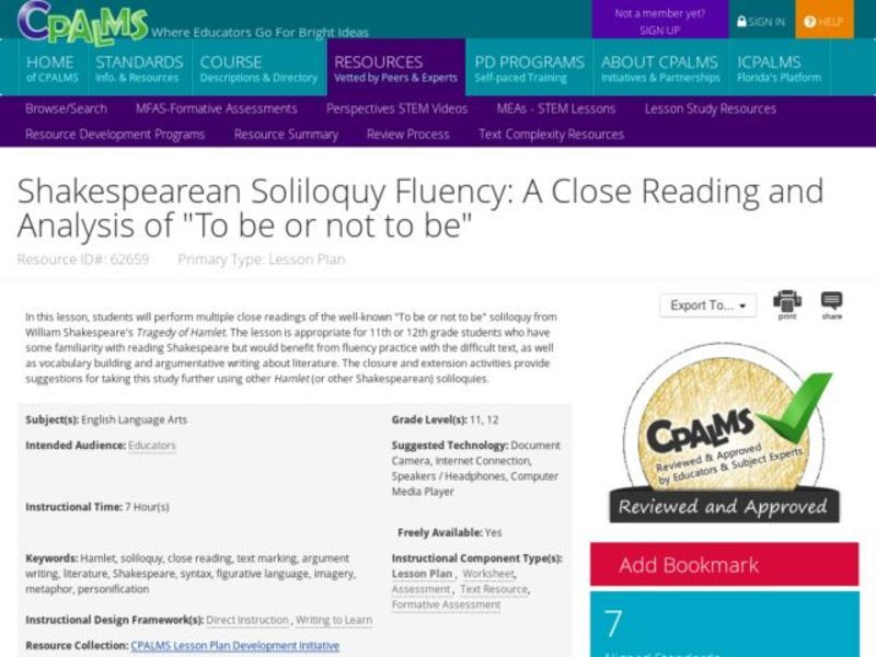 "Shakespearean Soliloquy Fluency: A Close Reading and Analysis of ""To be or not to be"" Lesson Plan"