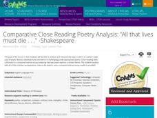 "Comparative Close Reading Poetry Analysis: ""All that lives must die..."" - Shakespeare Lesson Plan"