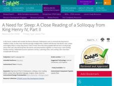 A Need for Sleep: A Close Reading of a Soliloquy from King Henry IV, Part II Lesson Plan