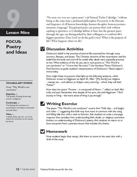 The Poetry of Emily Dickinson: Poetry and Ideas Lesson Plan