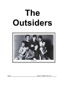 The Outsiders Study Guide Worksheet for 6th - 8th Grade ...