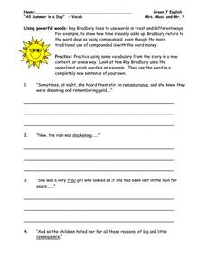 All Summer in a Day Vocab Worksheet