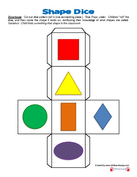 graphic regarding Printable Dice called Form Cube Printables Template for Pre-K - 2nd Quality